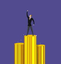 Successful businessman standing on pile of money vector