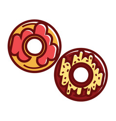sweet soft donuts with colorful glaze on top vector image