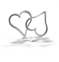 two silver hearts vector image