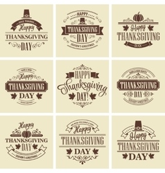 Typographic thanksgiving design set vector