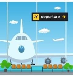 Waiting room in airport scoreboard departures vector
