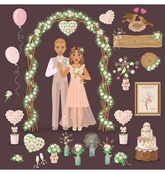 Wedding rustic set vector