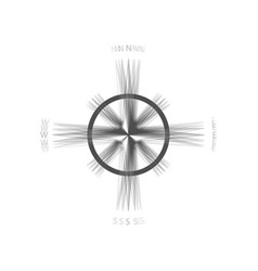 Wind rose sign gray icon shaked at white vector