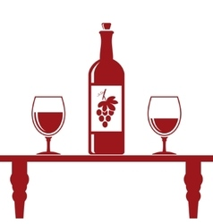Wine bottle and two glasses vector image