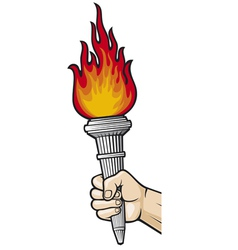 Hand with flaming torch vector