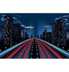 Night city road panorama2 vector