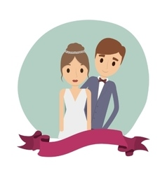 Couple of newlyweds frame decorative vector