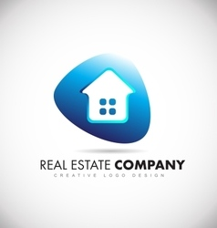 Real estate house blue logo icon design vector