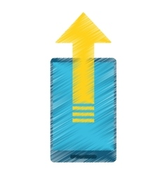 Drawing mobile phone technology upload arrow vector