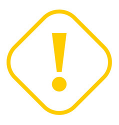 Yellow rhomb exclamation mark icon warning sign vector