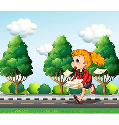 A girl running hurriedly while carrying a pile of vector image