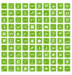 100 education technology icons set grunge green vector