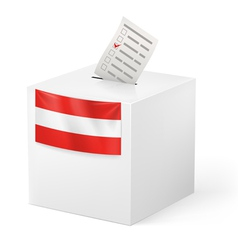 Ballot box with voting paper austria vector