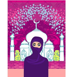 A young beautiful muslim women on seamles vector