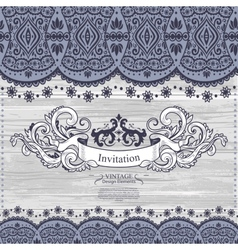 Wedding invitation with lace decoration vector