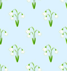 Seamless background with snowdrops flowers the vector