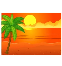 Beach background with coconut tree vector