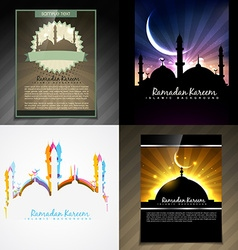 Set of attractive brochure of eid mubarak festival vector