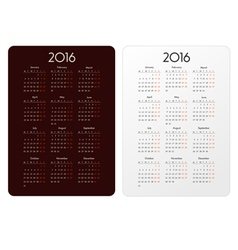 Template calendar grid for 2016 vector