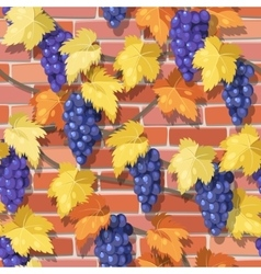 Seamless vine on the brick wall vector