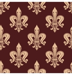 Brown and beige fleur-de-lis floral pattern vector
