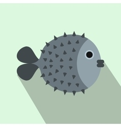 Fugu sharp fish icon flat style vector