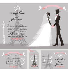 Wedding invitation setretro bridegroomeiffel vector