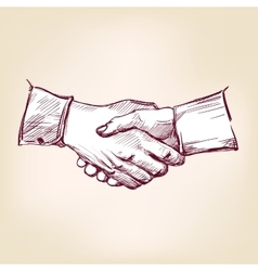 Handshake hand drawn llustration realistic vector