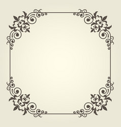 Art nouveau square frame with ornate curly corners vector