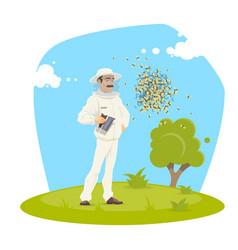 Beekeeping apiary and beekeeper design vector