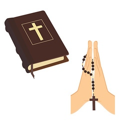 Bible and praying hands vector