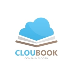 Book and cloud logo concept vector