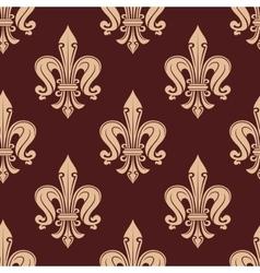 Brown and beige fleur-de-lis floral pattern vector