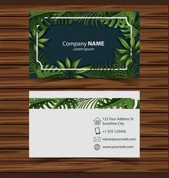 Businesscard template with leaves in front and vector