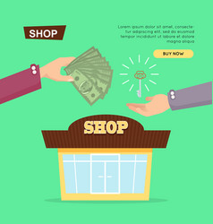 Buying shop online property selling web banner vector