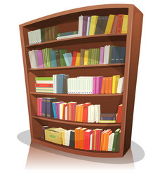 cartoon library bookshelf vector image vector image