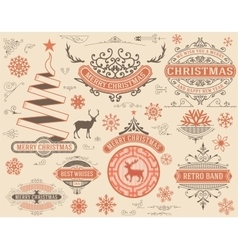Christmas decoration design elements Merry vector image