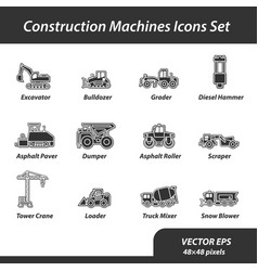 Construction machines set of flat icons vector