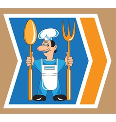 cook with spoon and fork vector image