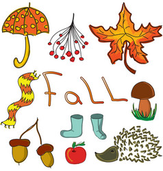 Drawn leaves and word fall vector
