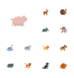 Flat icons hippopotamus chimpanzee kine and vector