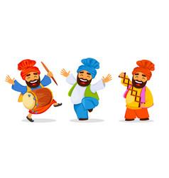 Funny dancing sikh man celebrating holiday set vector
