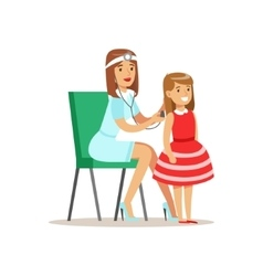 Girl checked with sthetoscope on medical check-up vector
