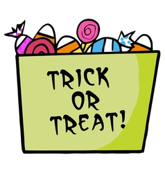 Green trick or treat bucket of candy vector