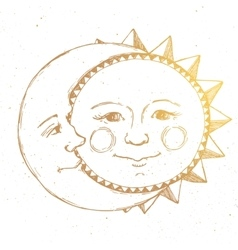 Hand drawn sun with moon vector image