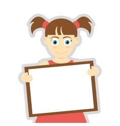 happy girl with pigtails holding board icon vector image vector image