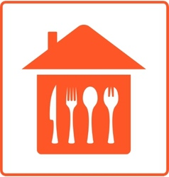 house with kitchen table cutlery vector image
