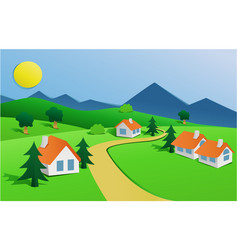 landscape with small village vector image