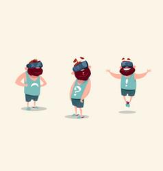 Man wear virtual reality digital glasses feeling vector