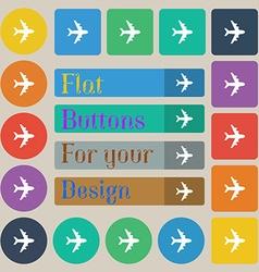 Plane icon sign set of twenty colored flat round vector